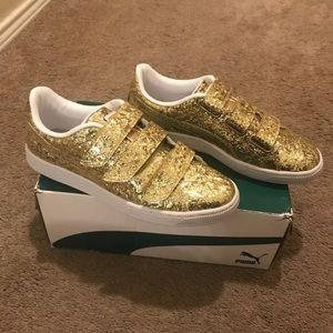 Women's Glitter Gold Puma Sneakers